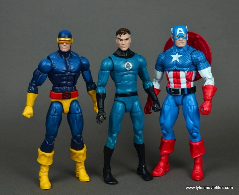 marvel legends mister fantastic figure review - with cyclops and captain america