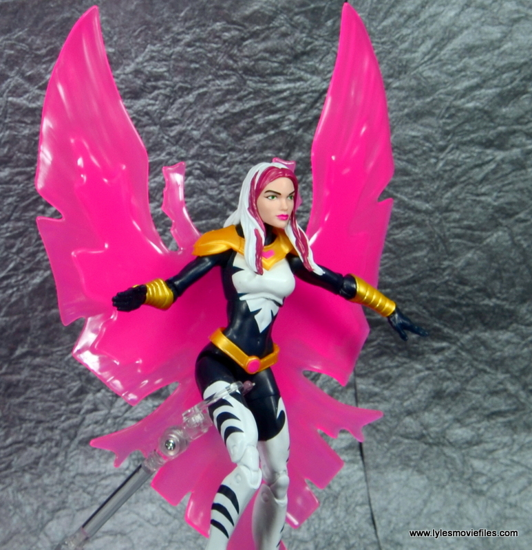 marvel legends songbird figure review - on flight stand