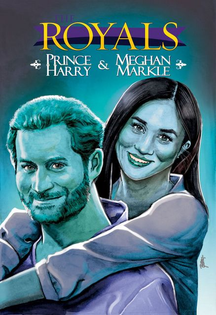the royals prince harry and meghan markle blue cover
