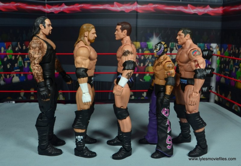 wwe elite 49 randy orton figure review - scale with undertaker, triple h, rey mysterio and batista