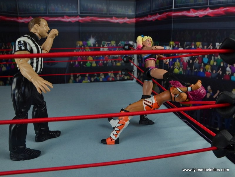 wwe elite 53 alexa bliss figure review -choking out sasha banks