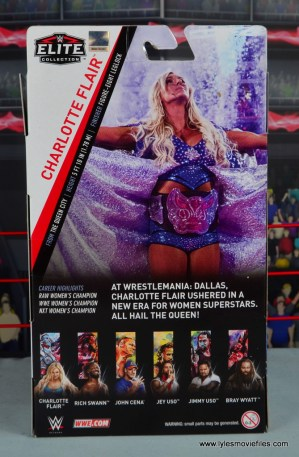 wwe elite 54 charlotte flair figure review - package rear