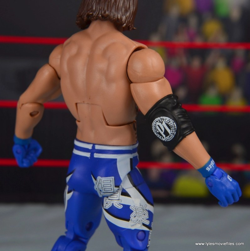 wwe elite 56 aj styles figure review - forearm and tight detail