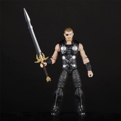 avengers infinity war marvel legends thor, groot and rocket pack - thor with sword