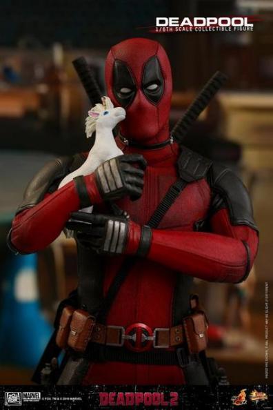 hot toys deadpool 2 figure -holding unicorn