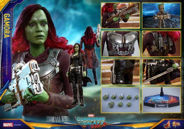 hot toys guardians of the gamora vol. 2 gamora figure -collage