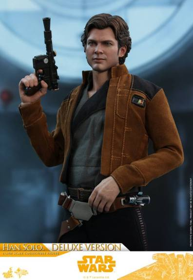 hot toys solo a star wars story han solo figure -blaster up