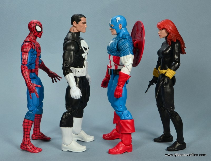 marvel legends the punisher retro figure review - scale with spider-man, captain america and black widow