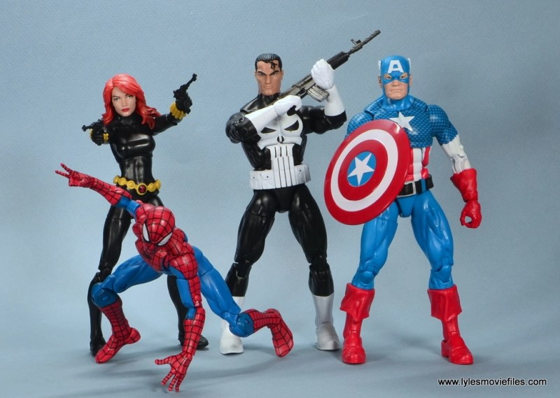 marvel legends the punisher retro figure review - with retro black widow, spider-man and captain america