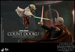 hot toys attack of the clones count dooku figure -fighting twisting yoda