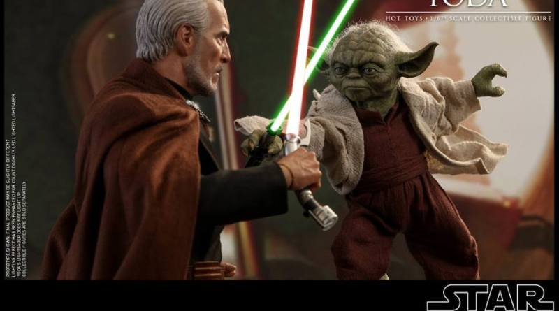 hot toys attack of the clones yoda figure - fighting dooku
