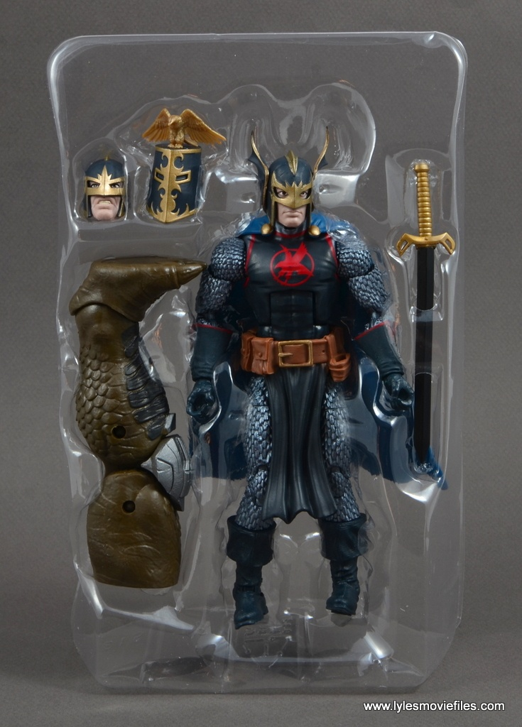 marvel legends black knight figure review -accessories in tray