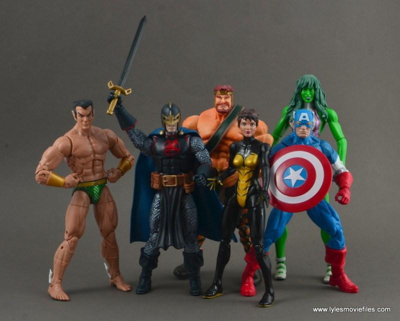 marvel legends black knight figure review -avengers sub-mariner, wasp, hercules, she-hulk and captain america