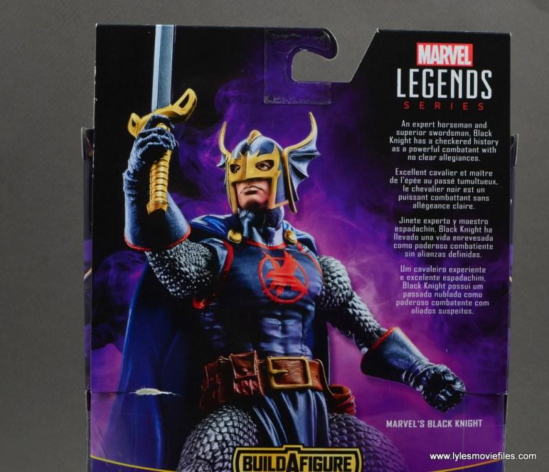 marvel legends black knight figure review -package bio