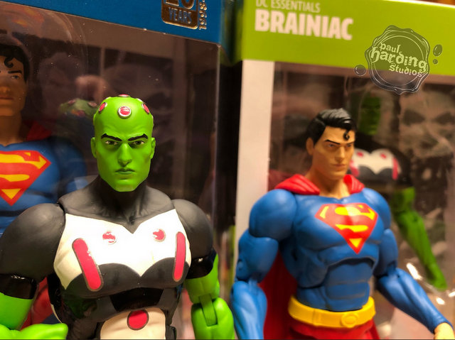 dc essentials braniac and superman figure close up