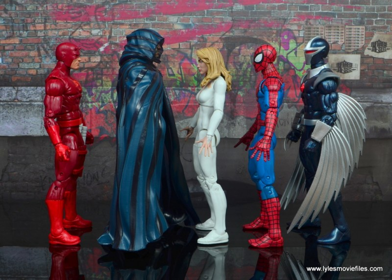 marvel legends cloak and dagger figure review - scale with daredevil, spider-man and darkhawk