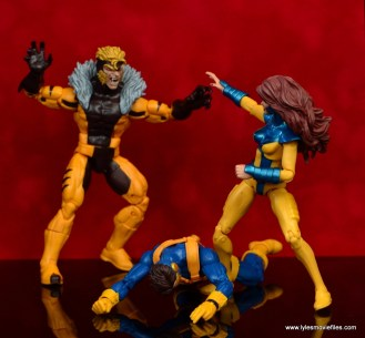 marvel legends sabretooth figure review - attacking jean grey