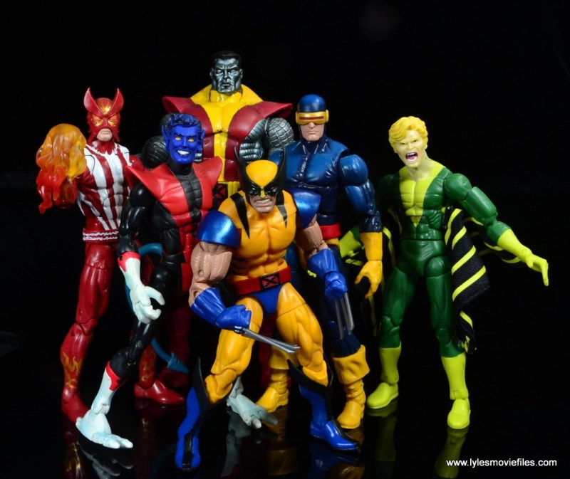 marvel legends wolverine figure review - with sunfire, nightcrawler, colossus, cyclops and banshee