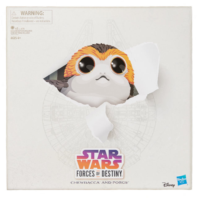 star wars forces of destiny chewbacca and porgs set - package