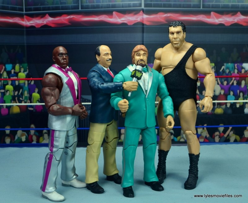 wwe elite virgil figure review -with mean gene, ted dibiase and andre the giant
