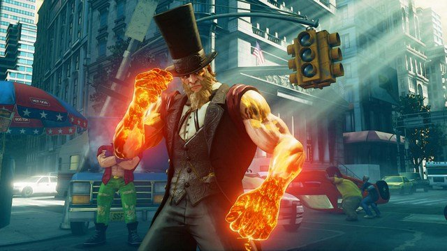 Street Fighter V Arcade Edition G with flaming fists