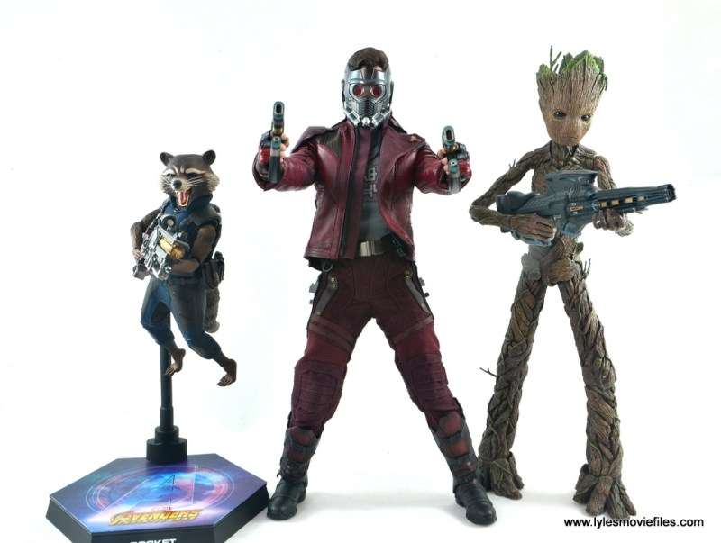 hot toys avengers infinity war groot and rocket review - with star-lord