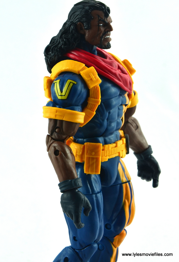 marvel legends bishop action figure review - right arm logo detail