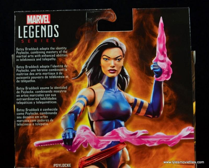 marvel legends psylocke figure review - package bio