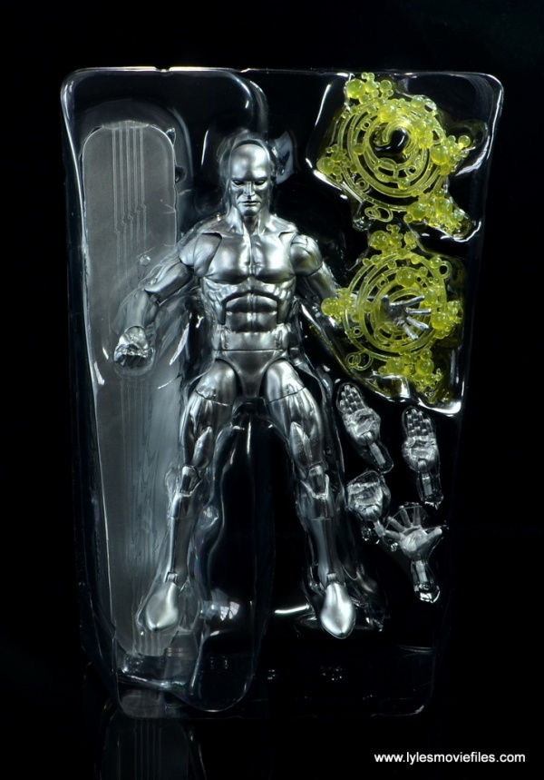 marvel legends silver surfer figure review - accessories on tray
