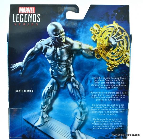 marvel legends silver surfer figure review - package bio
