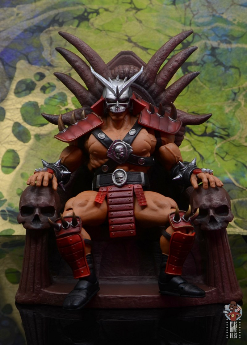 storm collectibles mortal kombat shao khan figure review - sitting on the throne