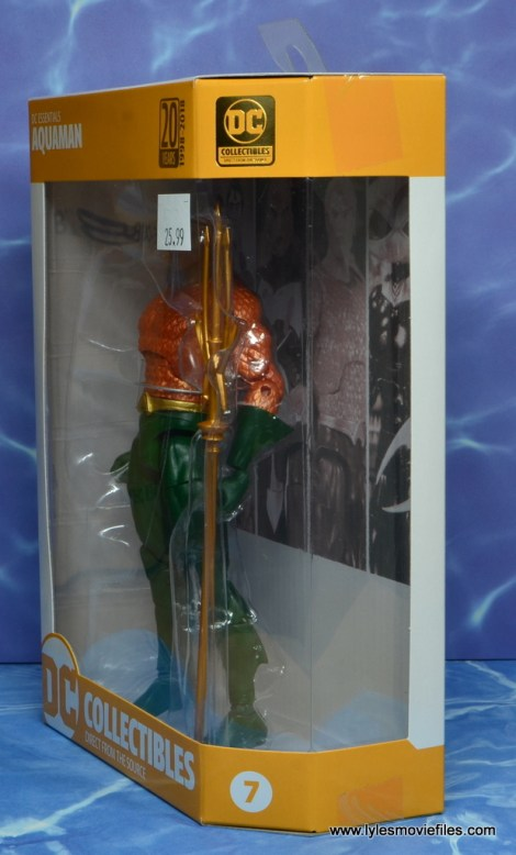 dc essentials aquaman action figure review - package left side