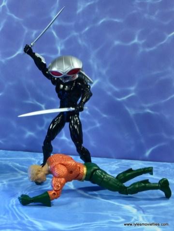 dc essentials black manta figure review -over defeated aquaman