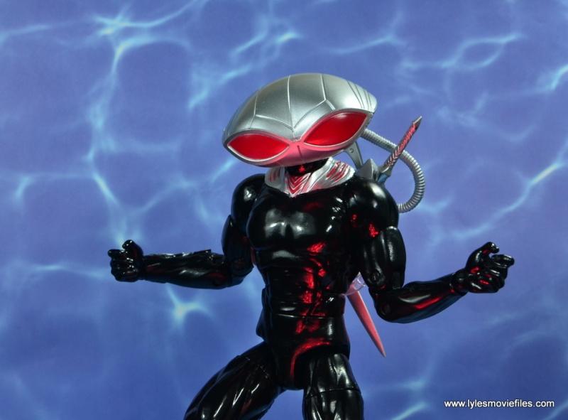 dc essentials black manta figure review - red eyes
