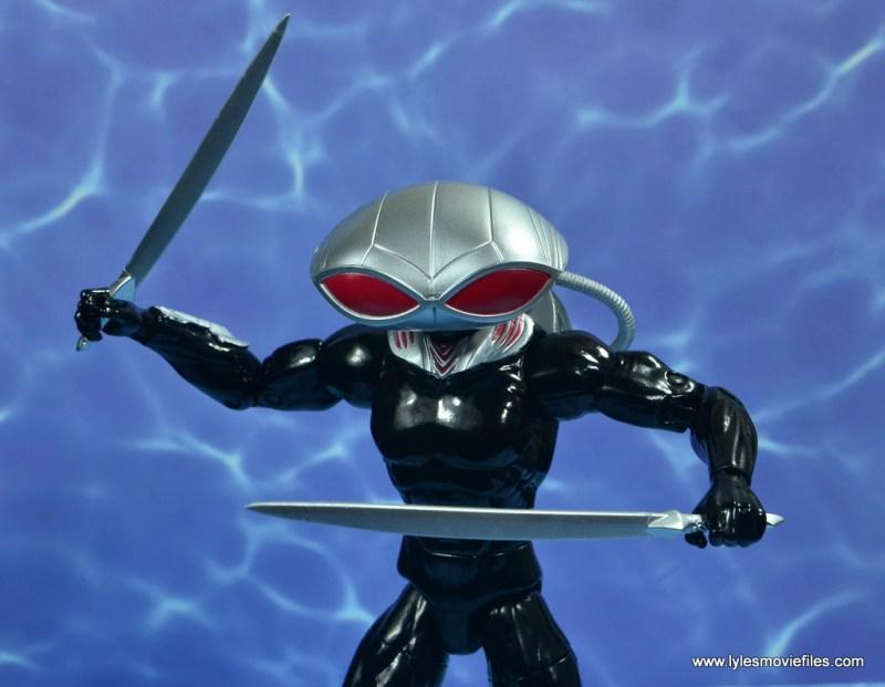 dc essentials black manta figure review -swords out