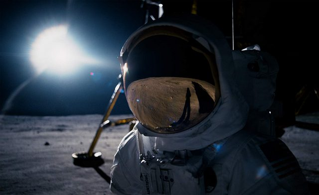 first man review - ryan gosling as neil armstrong on the moon
