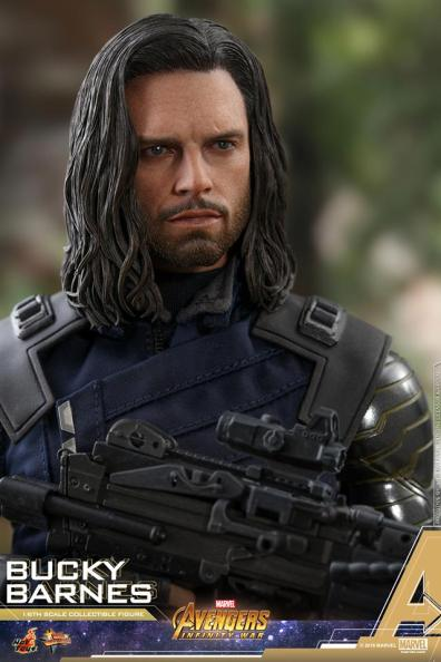 hot toys avengers infinity war bucky barnes figure -close up