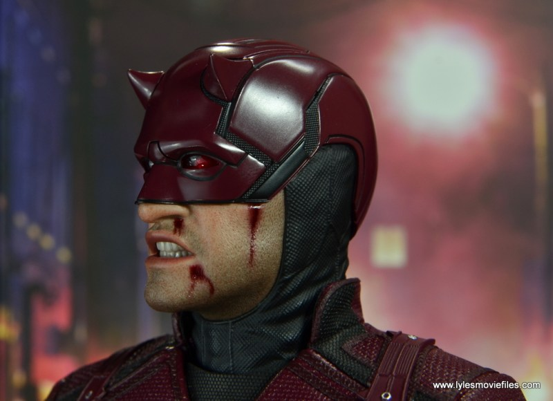 hot toys daredevil figure review - bloody side close up