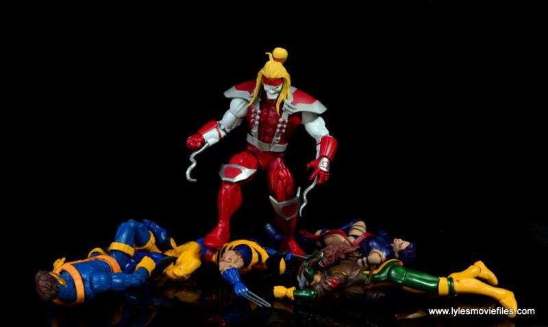 marvel legends omega red figure review - standing over x-men blue team