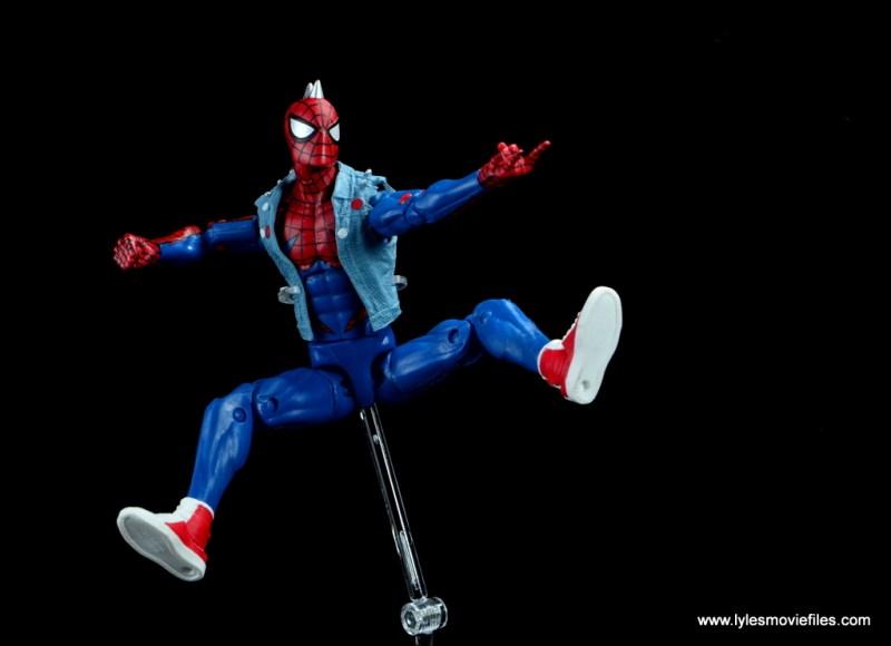 marvel legends spider-punk figure review - web slinging