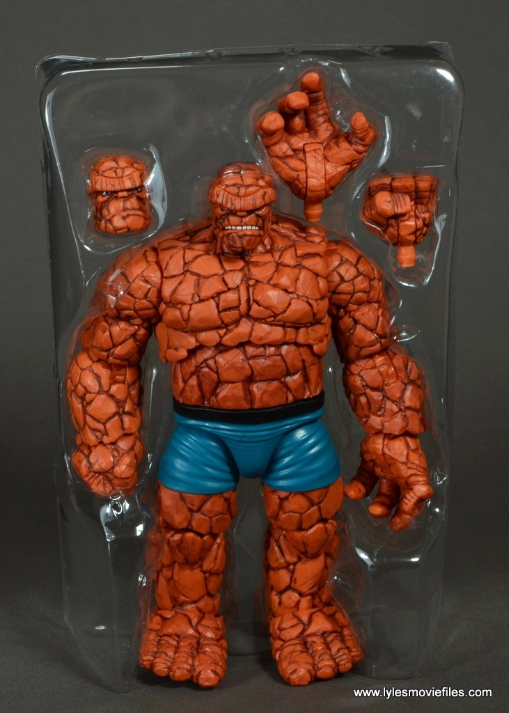 marvel legends the thing figure review - accessories in tray