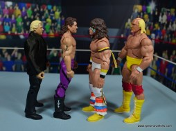 WWE Flashback Basic Rick Rude figure review - scale with bobby heenan, ultimate warrior and hulk hogan