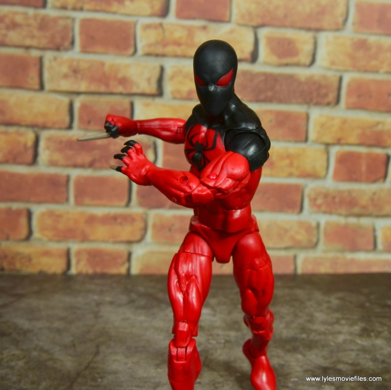 marvel legends scarlet spider figure review - advancing