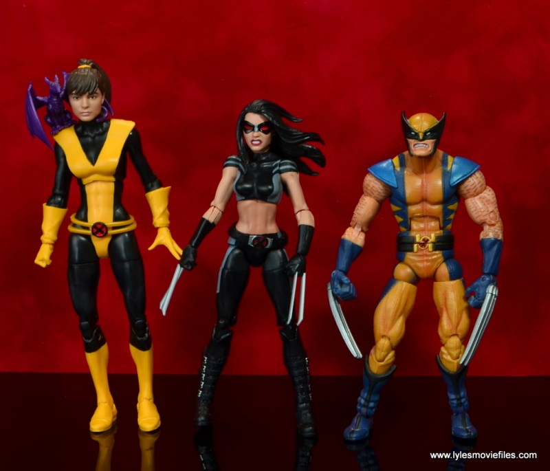 marvel legends x-23 figure review -scale with kity pryde and wolverine