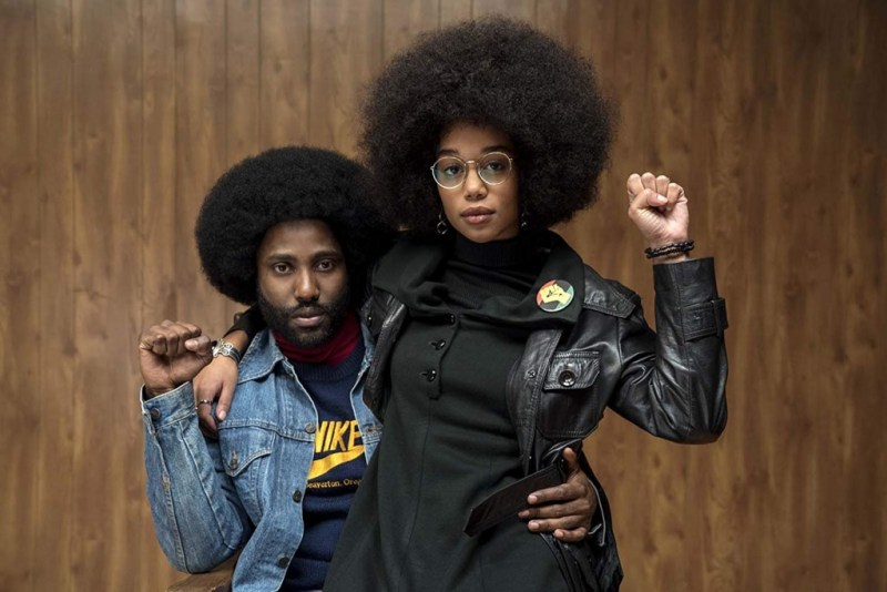 blacKkKlansman movie review - john david washington and laura harrier