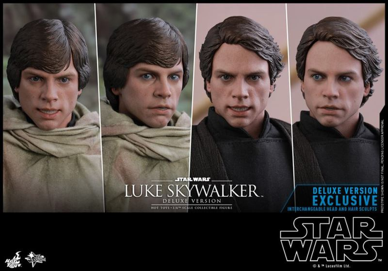 hot toys deluxe return of the jedi luke skywalker figure -hair and eye pieces