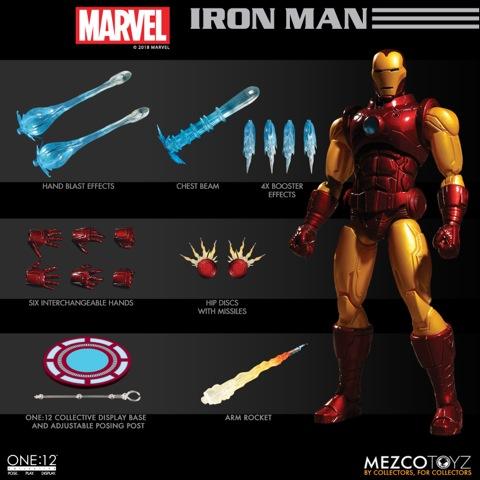 mezco toyz iron man one 12 figure -collage