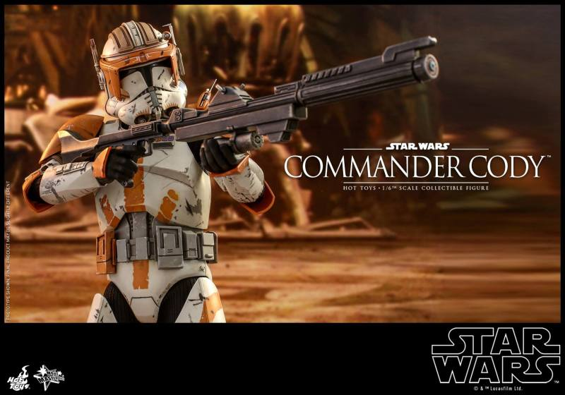 hot toys star wars revenge of the sith commander cody figure -aiming long blaster