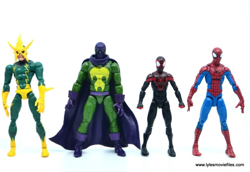 Marvel Legends Prowler figure review - scale with electro, miles and spider-man