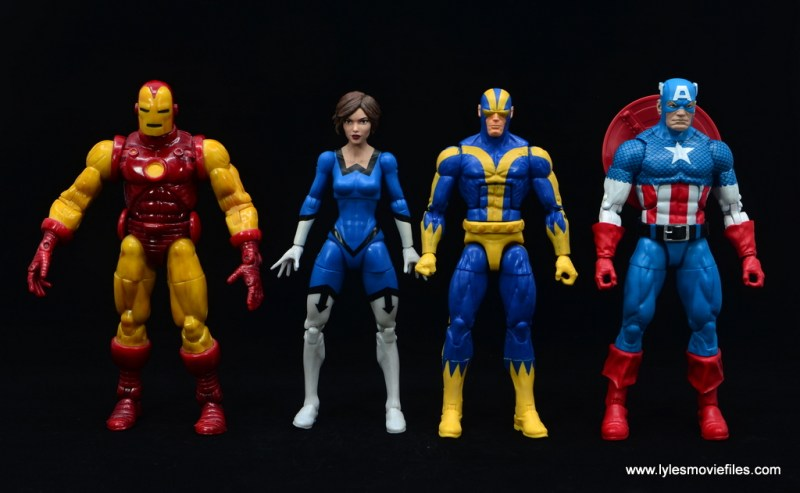 Marvel Legends Vintage The Wasp figure review - scale with iron man, goliath and captain america